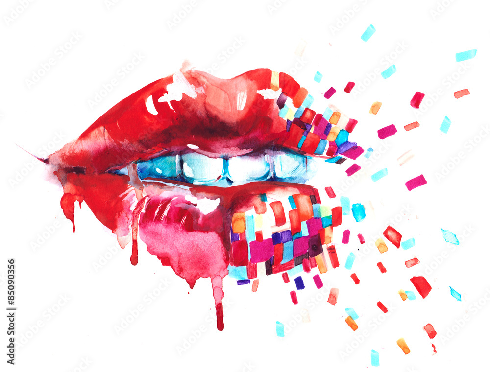Fototapety, obrazy: Abstrakcyjne usta