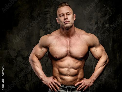 Fotografie, Obraz  Shirtless big bodybuilder posing in studio