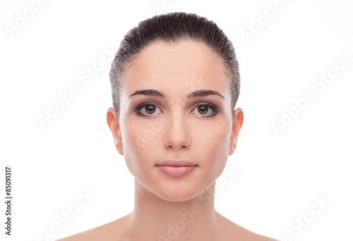 Photo  Smiling beautiful woman on white background