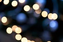 Bright Lights On Dark Blue Night Background