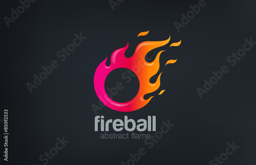 fireball logo fire flame abstract design vector template circl