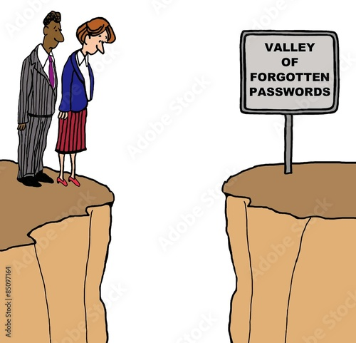 Fotografie, Obraz  Cartoon of businesspeople looking down into a deep valley, the sign says 'valley of forgotten passwords'