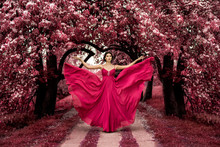 Maleficent Pink Princess, Sexy Woman With Beuatiful Pink Dress In Fairyland Pink Forest