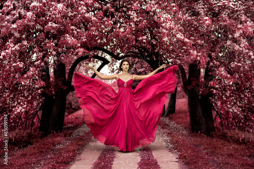 Maleficent Pink Princess, Sexy woman with beuatiful pink dress in fairyland pink Canvas Print