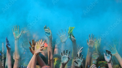 Holi festival with colorful hands