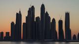 Silhouette at the sunrise - Dubai Marina from Palm Jumeirah