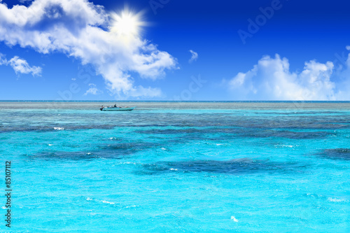 Poster Zee / Oceaan Crystal clear blue coral water of a Red Sea