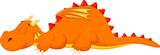 Fototapeta Dinusie - Cute dragon cartoon sleeping