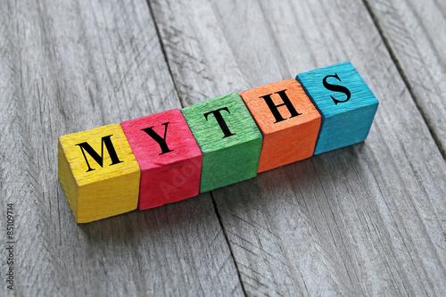Fototapeta word myths on colorful wooden cubes obraz
