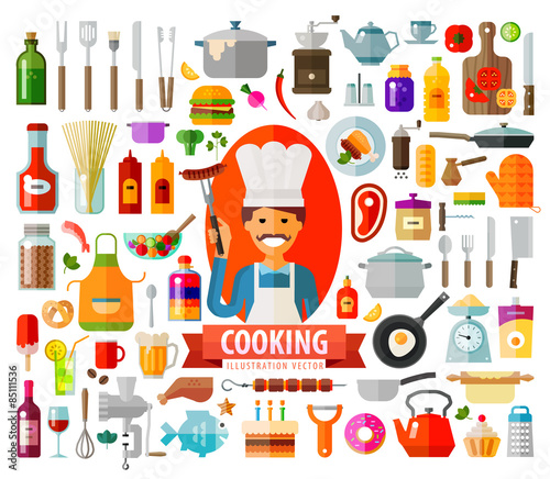 cooking. set of elements - chef, food, pan, frying pan, wine