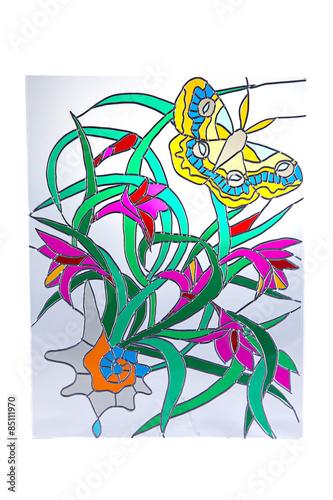 zolty-motyl-i-czerwone-kwiaty-witraz
