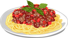 Pork Spaghetti With Tomato Sauce.