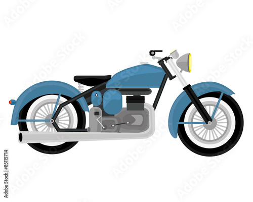 Photo The classic retro blue motorcycle.