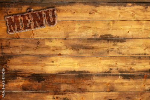 Spoed Foto op Canvas Grill / Barbecue plate menu nailed to a wooden wall