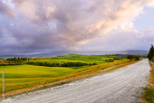 Tuinposter Zwavel geel Tuscany hills. Italy. May.