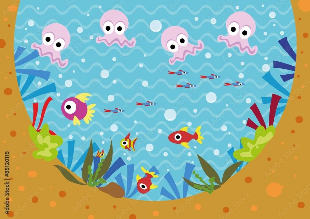Fototapeta podwodny świat,ryby,rybki,meduzy,woda,pod wodą