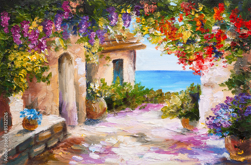 Fototapeta oil painting - house near the sea, colorful flowers, summer seascape obraz