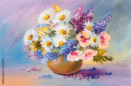 Fototapety, obrazy: bouquet of summer flowers, still life oil painting