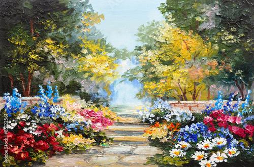 obraz-olejny-pejzaz-kolorowy-letni-las-piekny