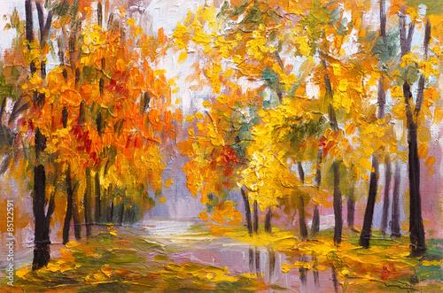 obraz-olejny-pejzaz-jesienny-las-pelen-opadlych-lisci-kolorowy-obraz-abstrakcyjny-rysunek