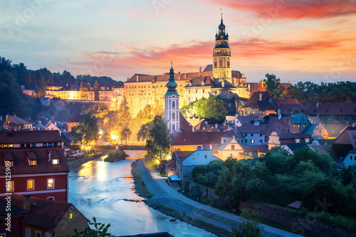 Spoed Foto op Canvas Praag View over Cesky Krumlov with Moldau river at night, Czech Republic