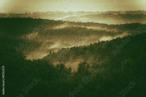 Fotografie, Obraz  Foggy Hills of Poland