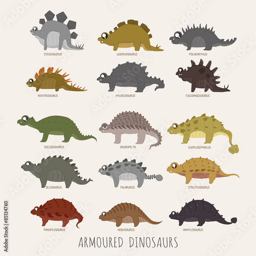 Photo  Set of Armoured dinosaurs