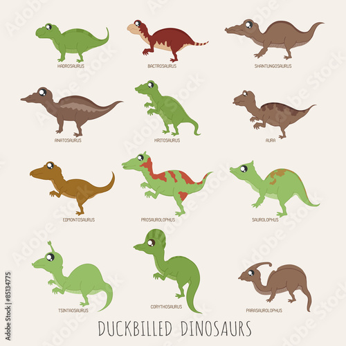 Photo  Set of Duckbilled dinosaurs
