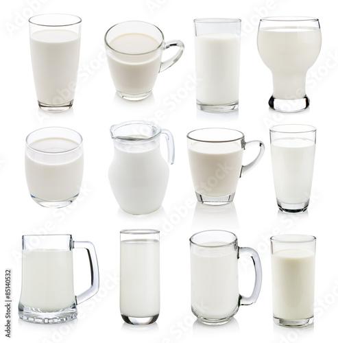 Fotografia Glass of milk isolated on white