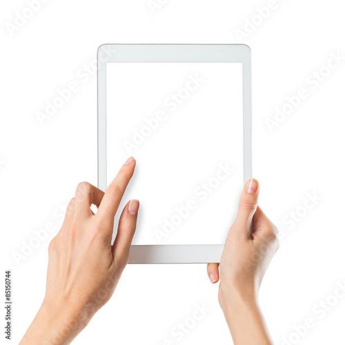 Obraz Woman holding digital tablet - fototapety do salonu