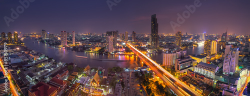 Bangkok skyline and the Chaopraya river, Bangkok, Thailand