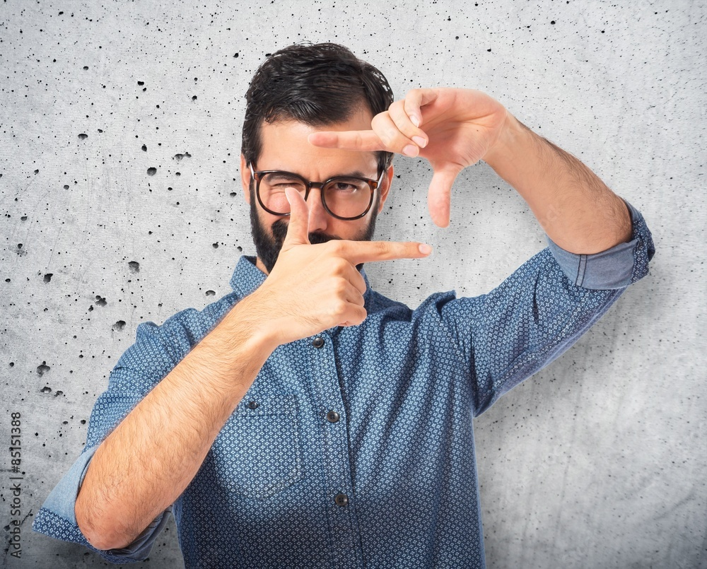 Fototapety, obrazy: Young hipster man focusing with his fingers