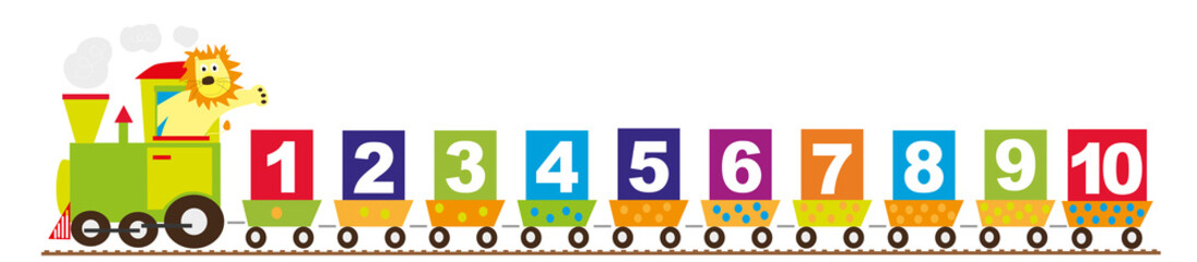 Naklejka math train for children with lion and numbers 1-10