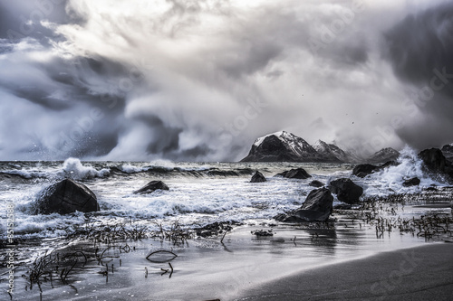 View of sea against stormy clouds
