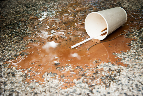 Fotografering  spilled ice coffee on Floor