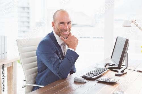Garden Poster Smiling businessman looking at camera