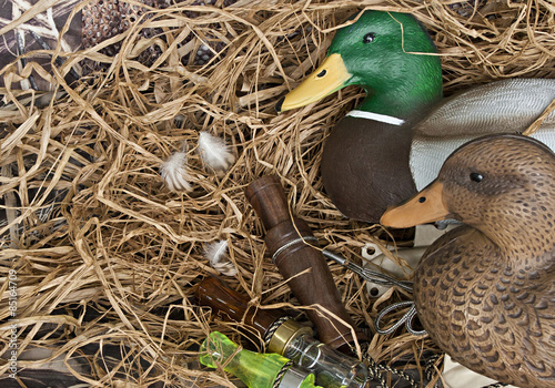 Ingelijste posters Jacht duck decoy with stuffed and calls