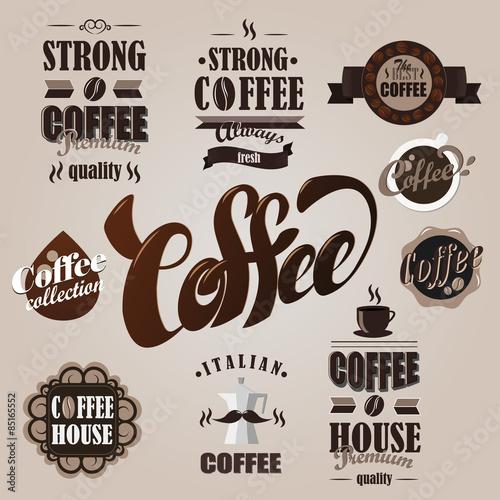Poster Affiche vintage Coffee logotypes set. Design elements