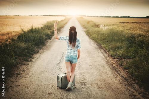 Photo  Traveler hippie girl