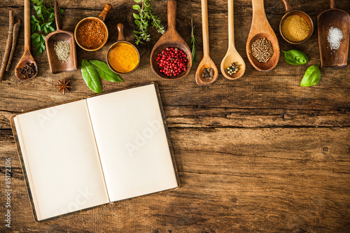 Fototapeta Blank cookbook and spices obraz