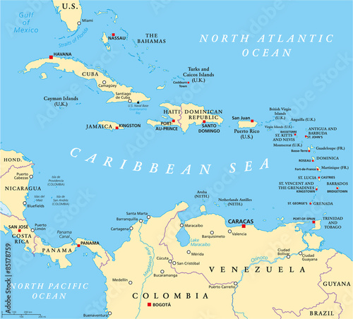 Caribbean political map with capitals, national borders, important ...