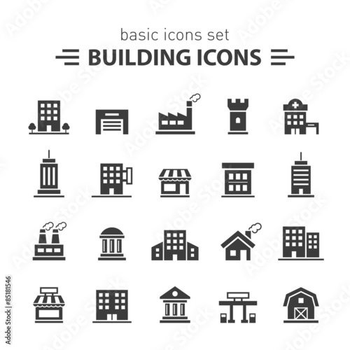 Building icons set. Wall mural