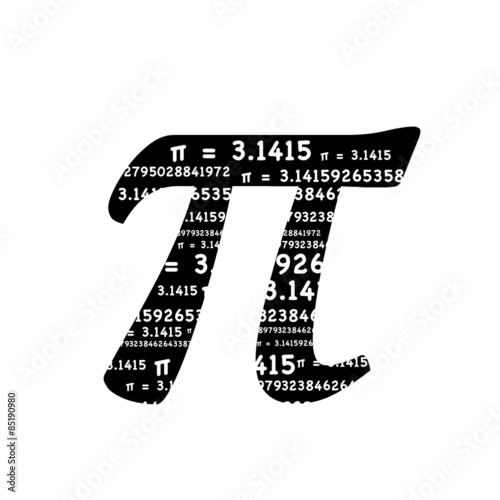 Pi Symbol Math Graphic Typography In Black And White 31415 Is A