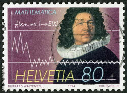 Fotografia SWITZERLAND - 1994: shows Jakob Bernoulli (1654-1705), mathematician