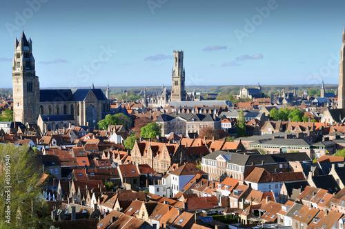 Poster Brugge Panorama of aerial view of Bruges (Brugge), Belgium