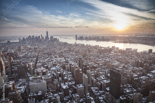 Sunset over New York's buildings during Winter