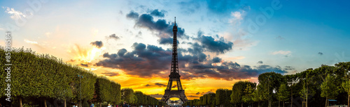 Eiffel Tower at sunset in Paris #85198584
