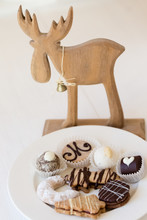Christmas Cookies On A Plate With Decoration Of A Reindeer And A