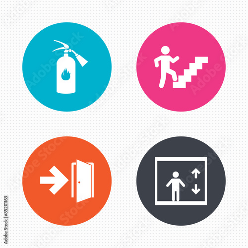 Emergency exit icons. Door with arrow sign. Wall mural