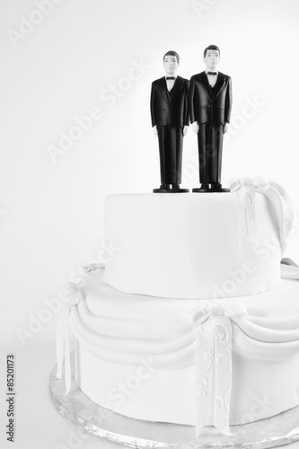 Wedding Cake Gay Couple With Two Male Figurines On Top Two Men Black